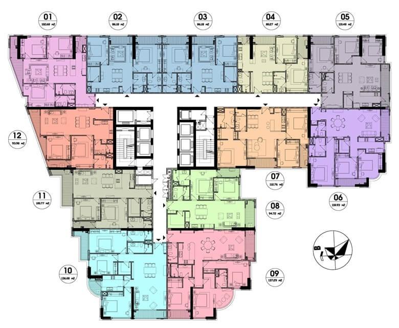 Mặt bằng thiết kế căn hộ Hateco Laroma