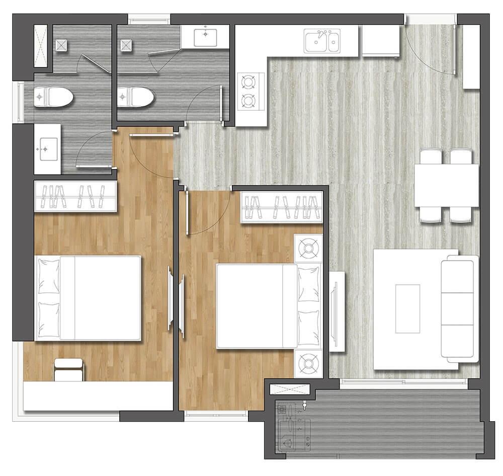 Thiết kế cao cấp căn hộ 2PN dự án Hưng Thịnh - Linh Đàm