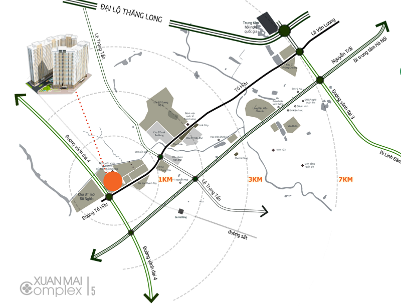 Vị trí dự án Xuân Mai Complex