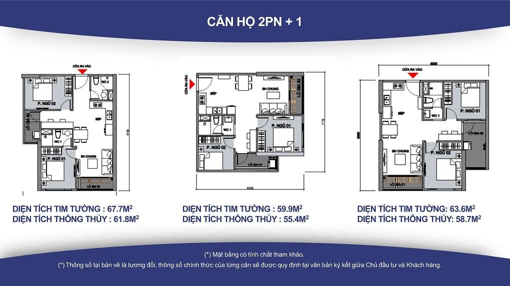 Thiết kế căn 2PN+1, 1WC