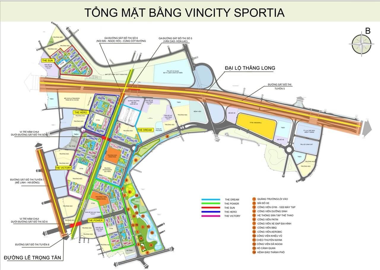 Mặt bằng tổng quan dự án Vinity Sportia Tây Mỗ