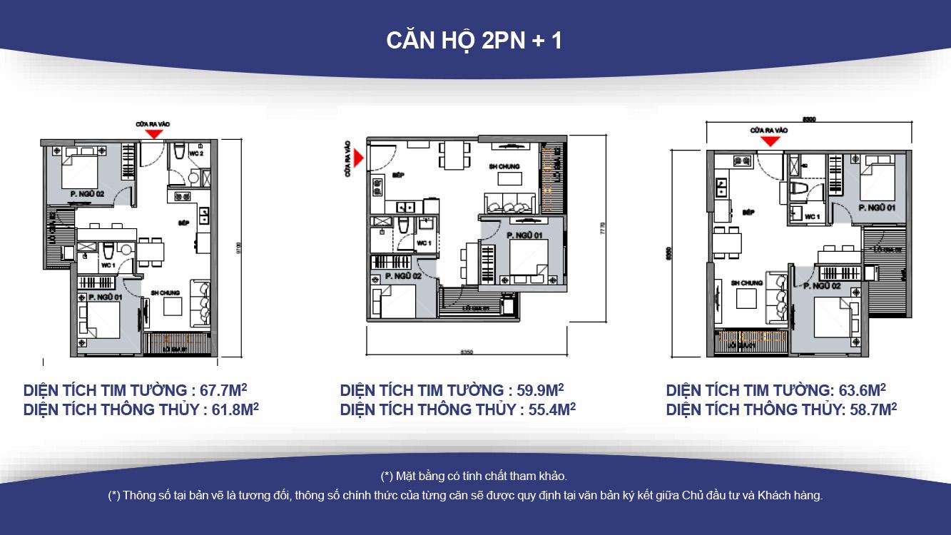 Thiết kế căn hộ 2 phòng ngủ, 1wc