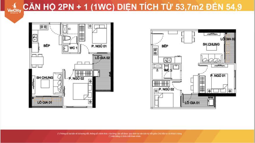 Thiết kế căn hộ 2PN-1WC
