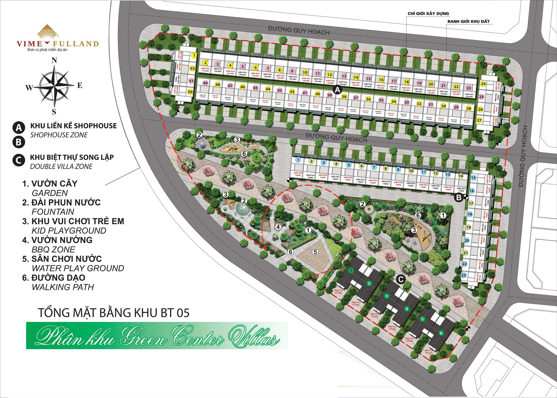 Mặt bằng tổng thể phân khu Green Center Villas