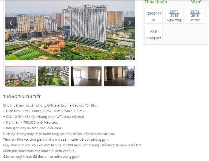 Giá cho thuê Officetel Ecolife Capital