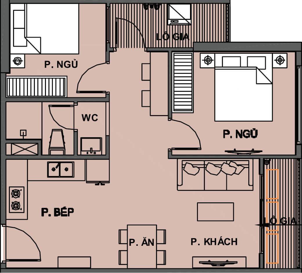 Căn hộ 55m2 thiết kế 2 phòng ngủ