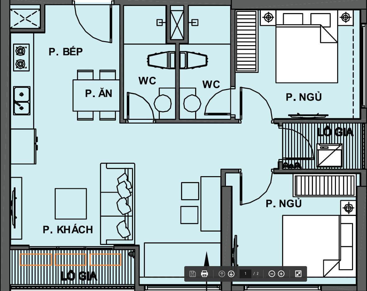 Căn hộ 63m2- 2 phòng ngủ