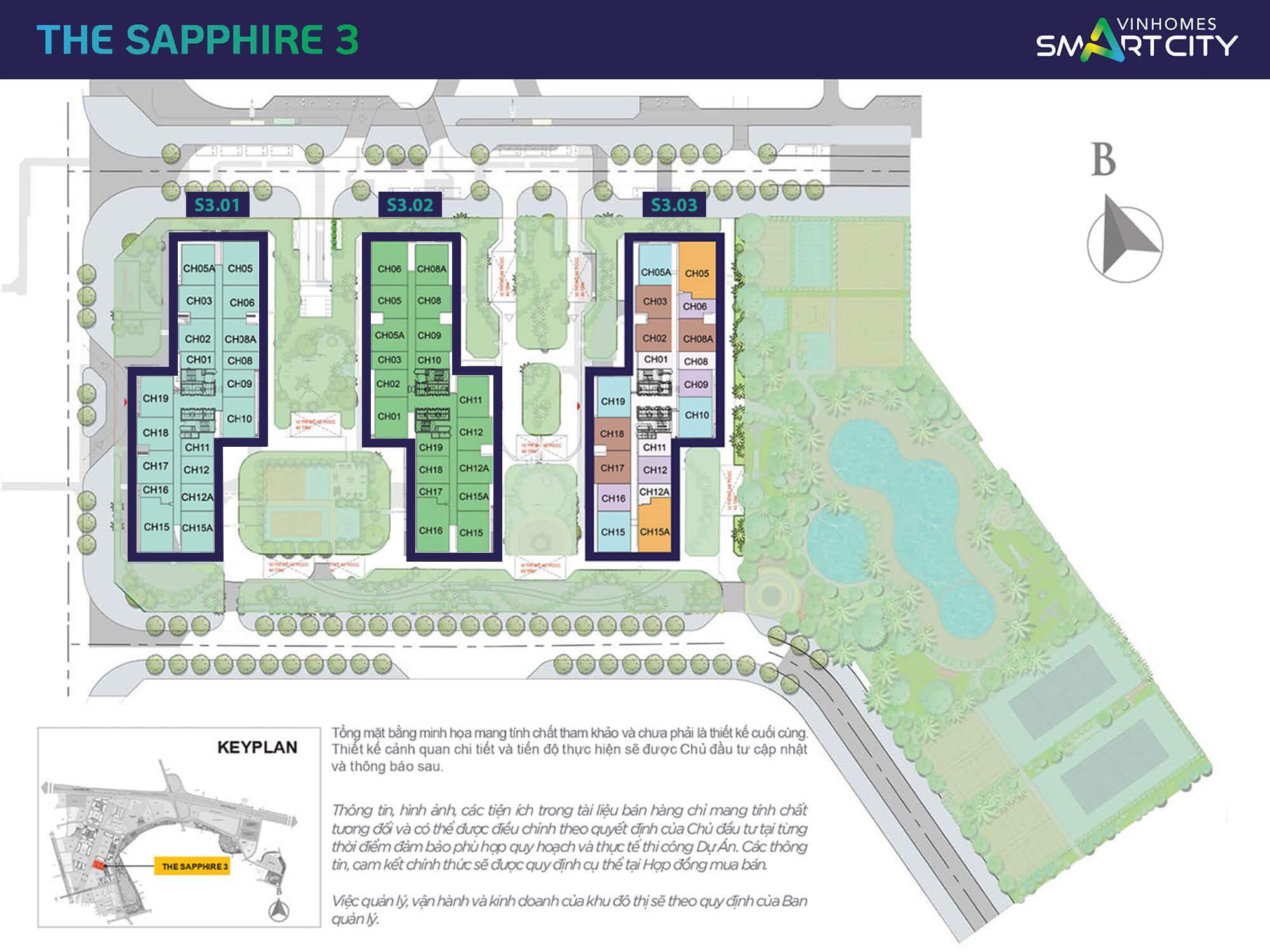 Mặt bằng phân khu Saphire 3 mới ra mắt