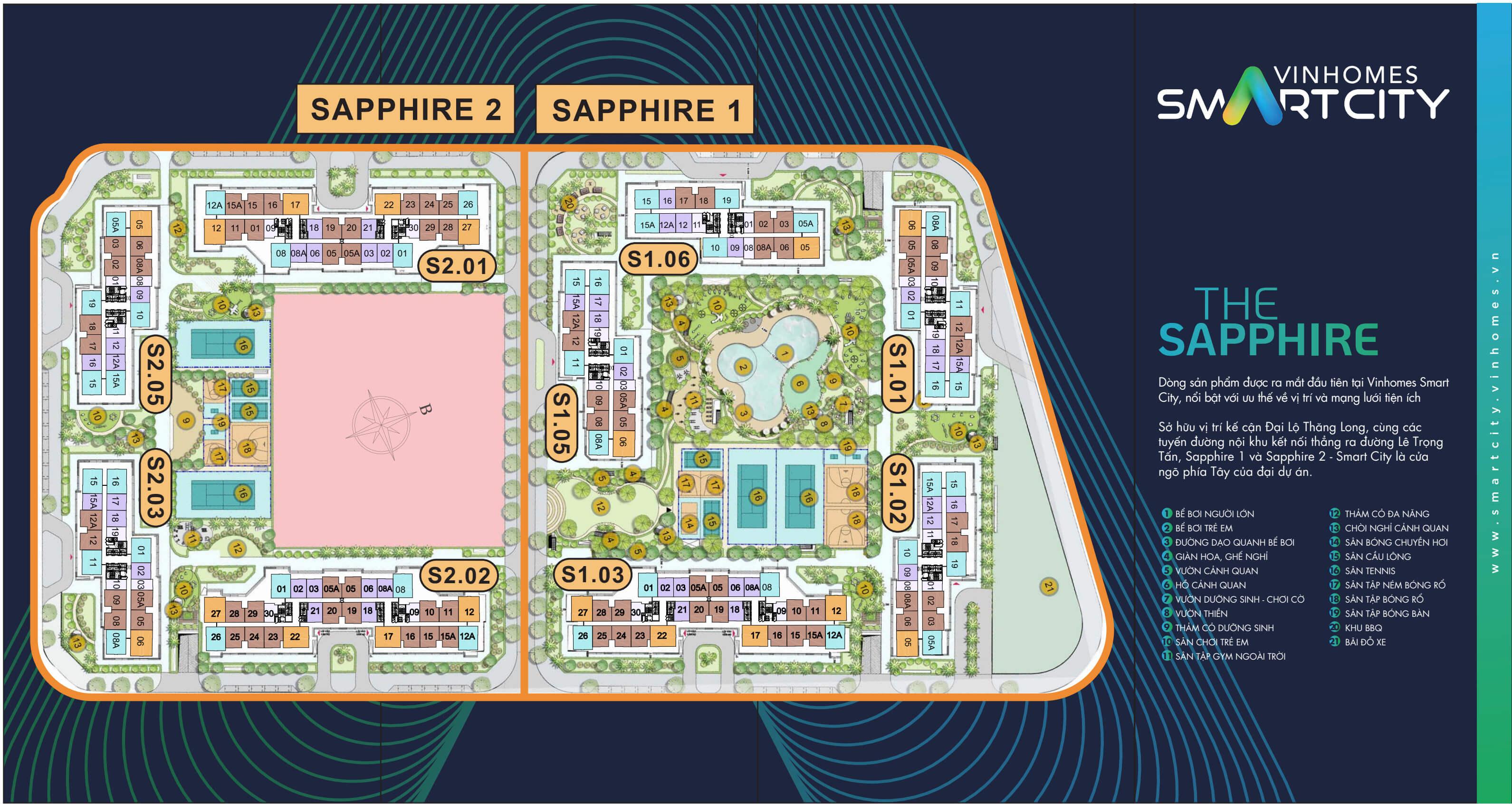 Mặt bằng phân khu Saphire 1 và 2