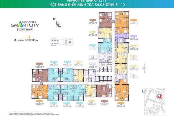 Mặt bằng tòa S4.03 Vinhomes Smart City