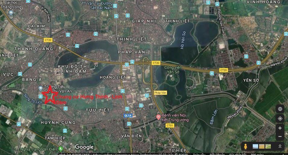 Vị trí dự án chung cư Hưng Thịnh - Linh Đàm
