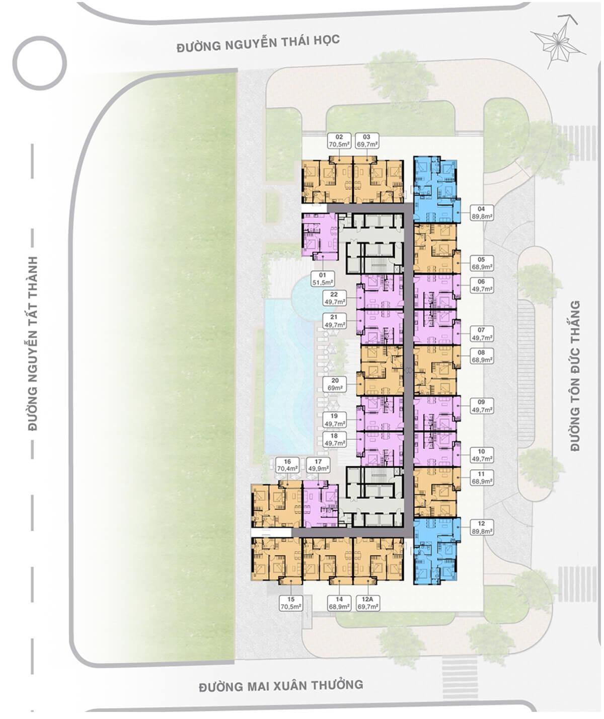 Mặt bằng tầng điển hình dự án Grand Center Quy Nhơn
