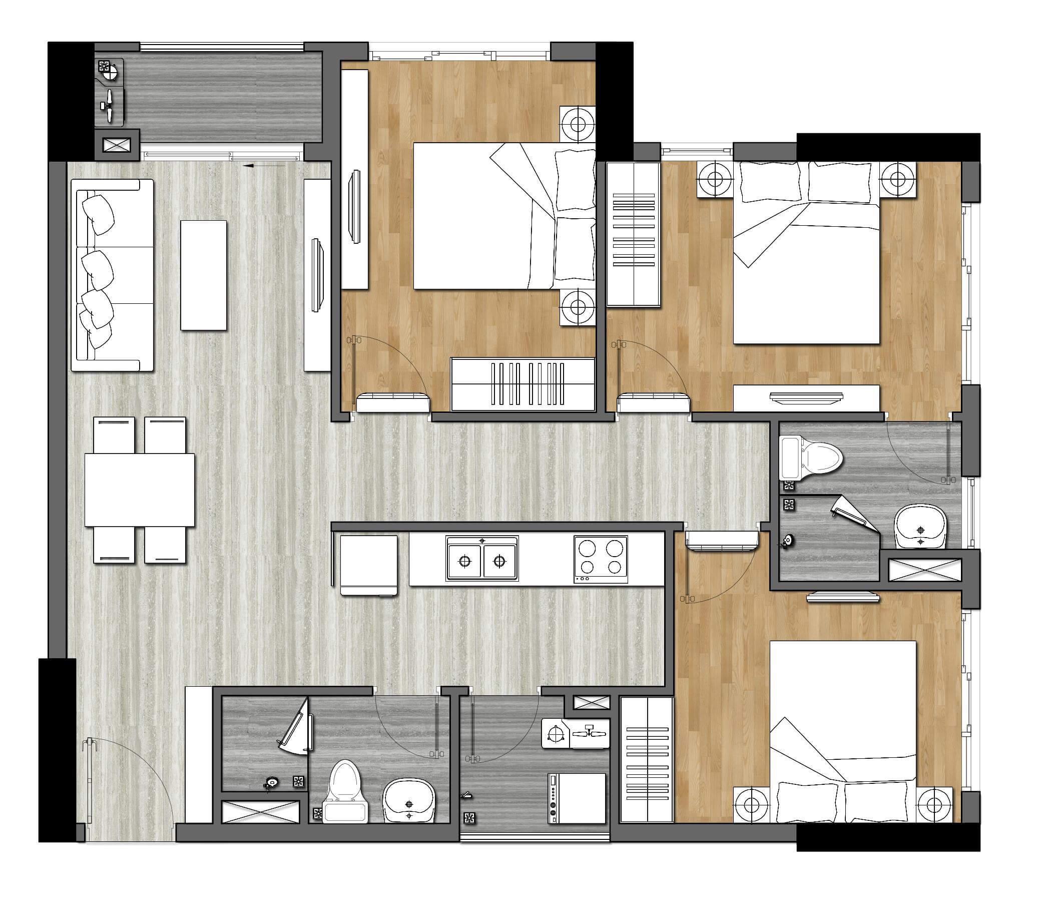 Thiết kế căn 3PN-83m2