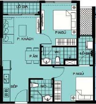 Thiết kế căn hộ 55m2-2PN-2WC