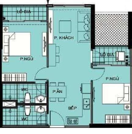 Thiết kế căn 62m2-2PN-2WC