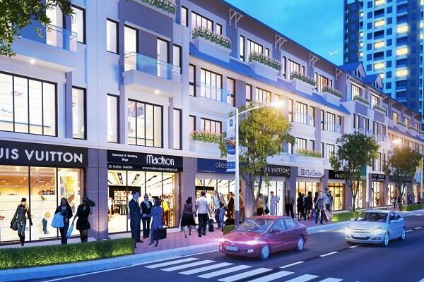 Dãy nhà mặt phố tại một dự án ở Hà Nội