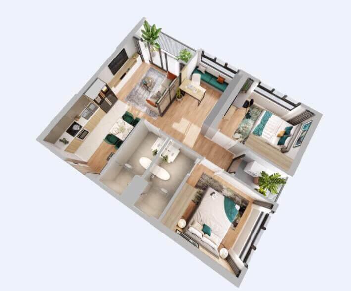 Thiết kế căn hộ 2PN+1: 63m2