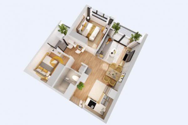 Thiết kế căn hộ 2PN-55m2