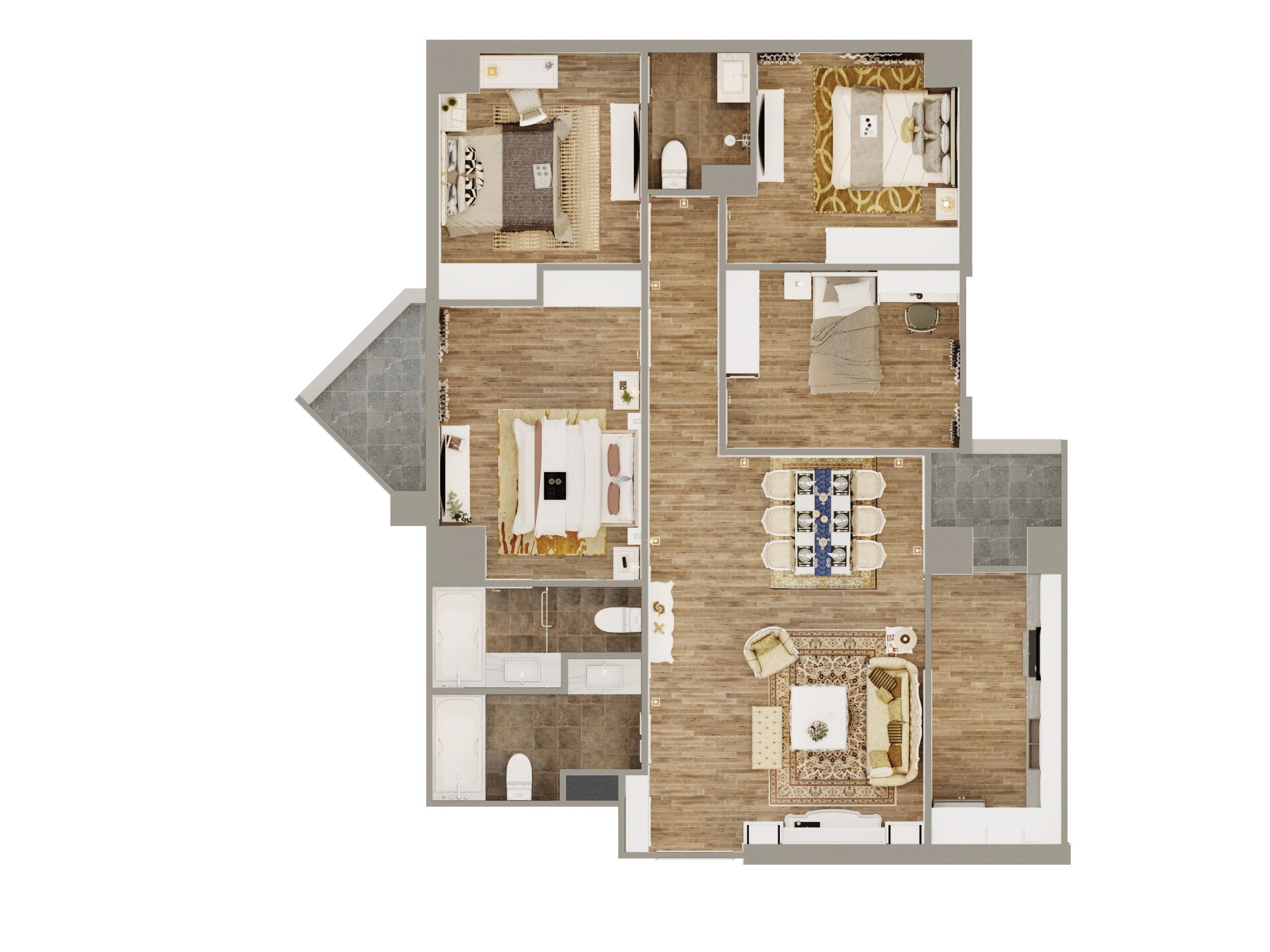 Thiết kế căn hộ 4 phòng ngủ