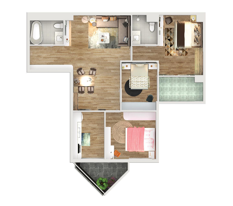 Thiết kế căn 3PN rộng 100m2