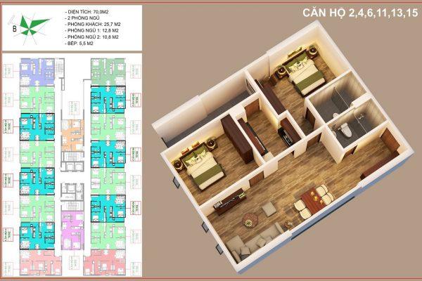 Thiết kế căn hộ 70m2-2PN-2WC chung cư IEC