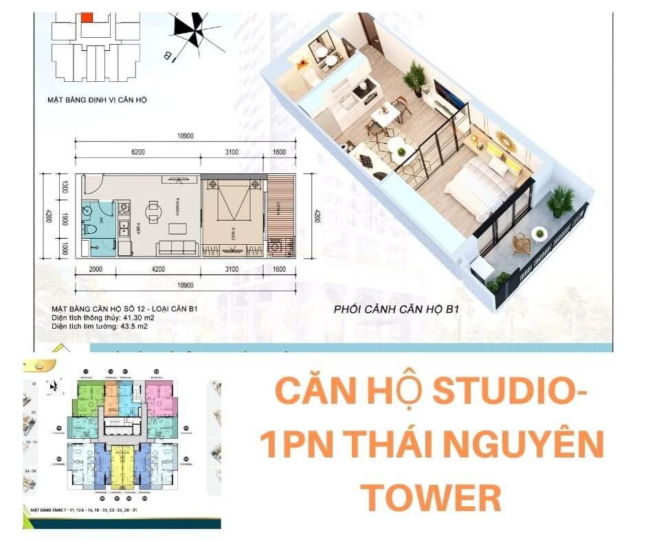 Thiết kế căn 1PN chung cư Thái Nguyên Tower