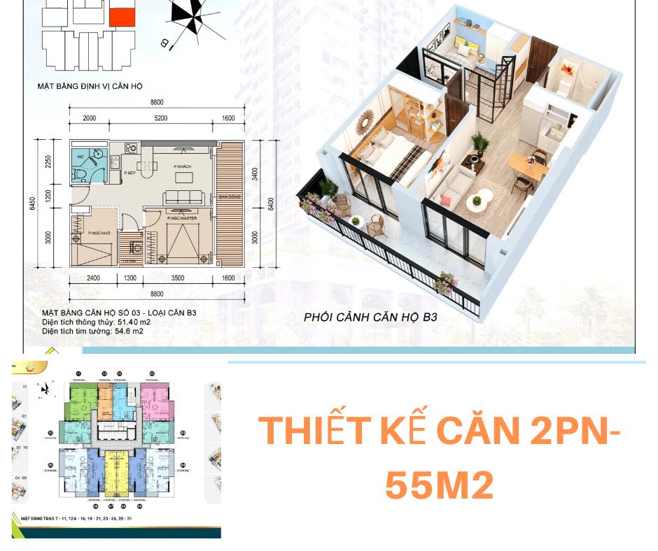 Thiết kế căn 2PN-55m2 chung cư Thái Nguyên Tower