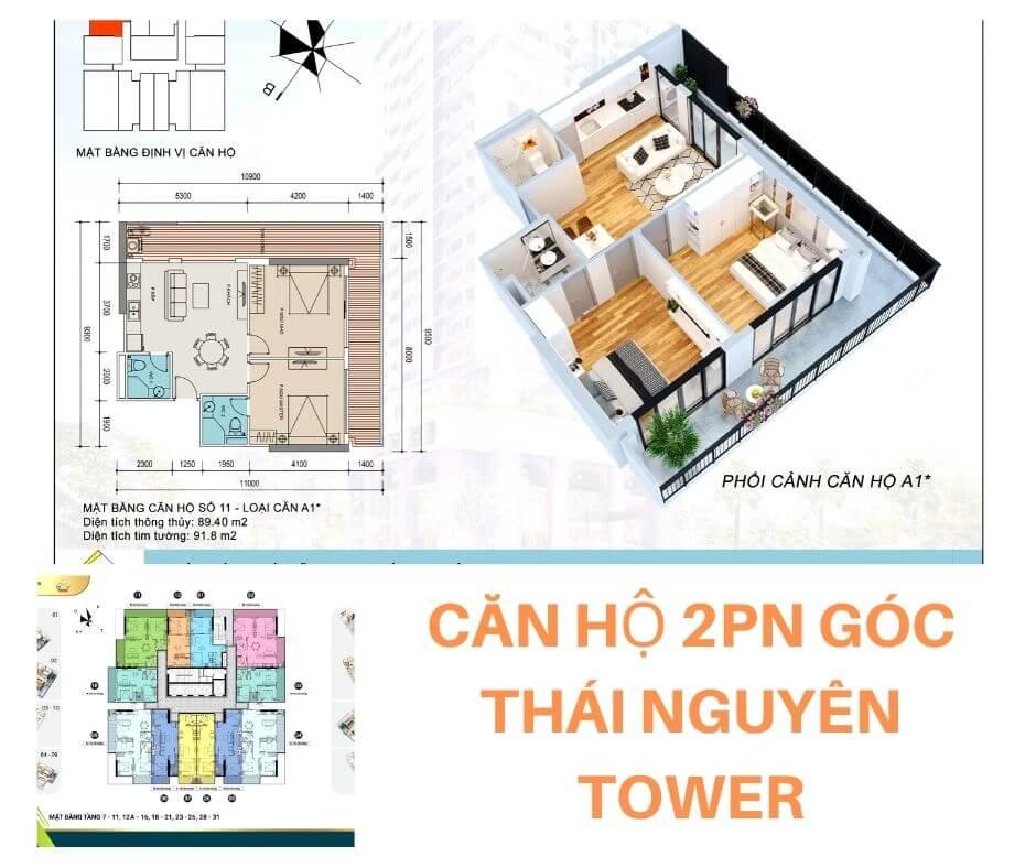 Thiết kế căn 2PN góc chung cư Thái Nguyên Tower