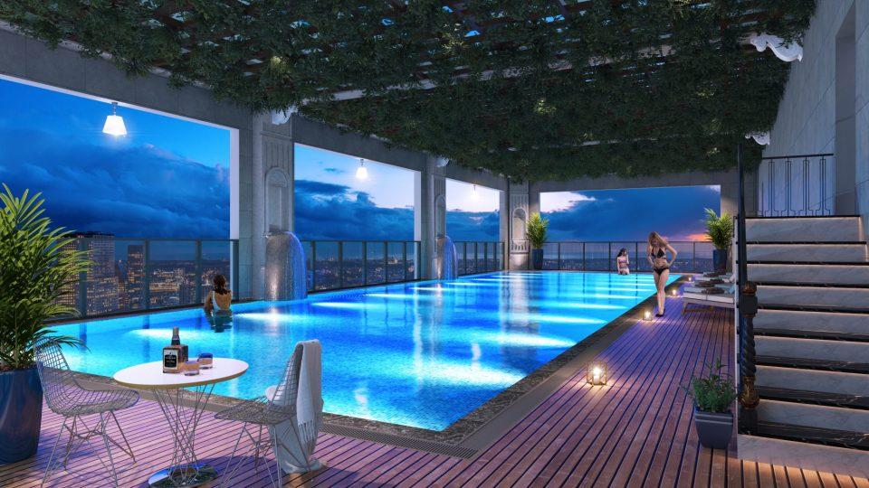 Bể bơi vô cực tại tầng 35 chung cư Thái Nguyên Tower