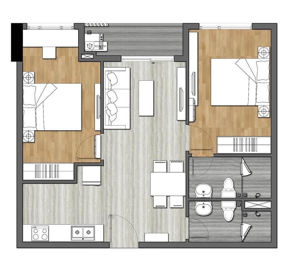 Căn hộ 2 phòng ngủ tại Richmond Quy Nhơn